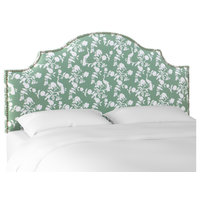 King Nail Button Notched Headboard in Peacock Silhouette Green