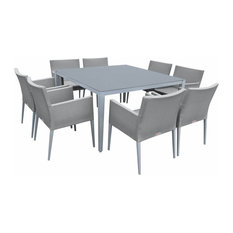 Outdoor Aluminum Gray Frosted Glass 9-Piece Square Dining Table Set