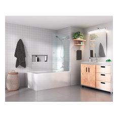"58""x31.5"" Frameless Glass Bath Tub Shower Door, Wall Hung, Chrome"