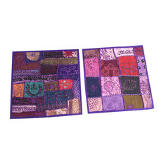 Mogulinterior - Ethnic Purple Cushion Cover Patchwork Embroidered Cotton Square Pillow Cases - Pillowcases and Shams