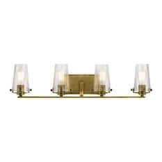 Alton 4 Light Bathroom Vanity Light in Natural Brass