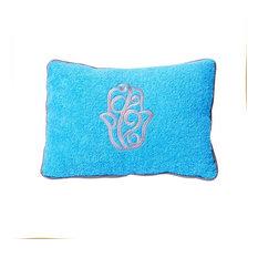 Hand of Fatima Beach Cushion, Blue and Silver