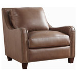 Oliver Pierce - Randall Top Grain Leather Club Chair - With its gently sloped arms, delicate brass trim, and luxurious Italian leather upholstery, this timeless club chair infuses any living space with an air of undeniable elegance.
