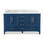 """Kendall Blue Bathroom Vanity, 60"""", Vanity With Top"""