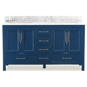 "Kendall Blue Bathroom Vanity, 60"", Vanity With Top"