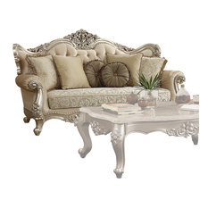 ACME Bently Sofa with 7 Pillows, Fabric and Champagne