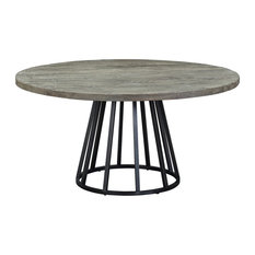 Knox 60-inch Round Dining Table Storm Gray Reclaimed Wood