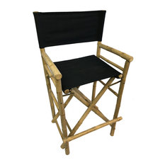 Master Garden Products   Bar Height Bamboo Director Chairs, Black Canvas   Bar  Stools And
