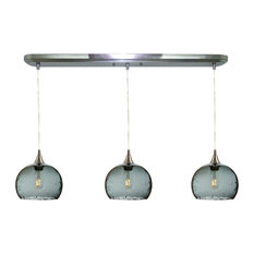 Lunar 3-Light Linear Pendant Form No. 767, Gray Glass Shades