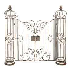 Benzara Inc - Classic Antique Metal Garden Yard Gate Bronze Curled Outdoor Decor - Home Fencing and Gates