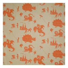 "PaperBoy Interiors ""Ere Be Dragons"" Fabric, Taupe and Orange"