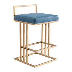 Blue Counter Stool, Contemporary Modern, Glam Art Deco Gold Counter Stool