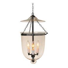 Clear Hundi Glass Bell Jar Lantern, Antique Bronze