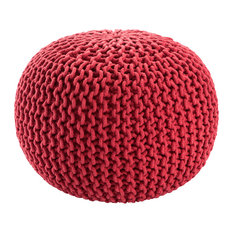 Jaipur Living Visby Textured Round Pouf, Tomato Puree
