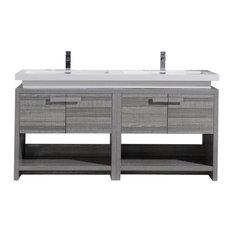 """Levi 63"""" High Gloss Ash Grey Modern Bathroom Vanity With Cubby Hole"""