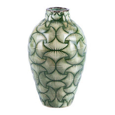 Zuo Ventra Small Textured Ceramic Leaf Vase, Green