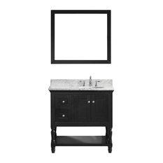 36-inch Single Bath Vanity In EspressoMarble TopRound SinkFaucetMirror