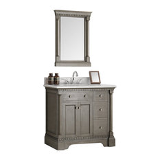 "Fresca Kingston 36"" Antique Silver Traditional Bathroom Vanity, Mirror"