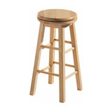 Traditional Bar Stool, Light Brown Finished Solid Wood, Simple Round Design