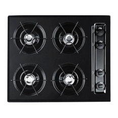 """Summit 24"""" Cooktop With 4-Burners and Battery Ignition, Black"""
