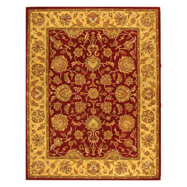 Heritage Silk And Wool Hand-Tufted Red And Gold Rug, Hg343C, 9'6