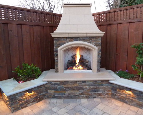 Calstone quarrystone paver sitting wall outdoor for Building a corner fireplace