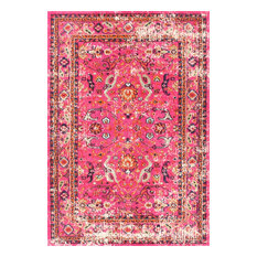 """Traditional Vintage Floral Distressed Area Rug, Pink, 6'7""""x9'"""