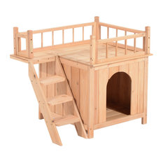 PawHut 2-Level Wood Treehouse Elevated Outdoor Cat Shelter House With Balcony
