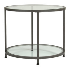 Studio Design Camber Collection Round Clear Glass Side Table, Pewter