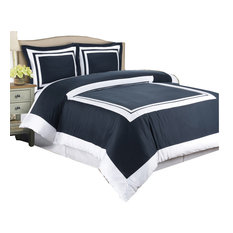 royal tradition hotel 100 cotton 300tc duvet cover set navy and white