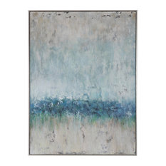 Oversize Modern Coastal Blue Green Cream Abstract Painting | Wall Art Large Sea