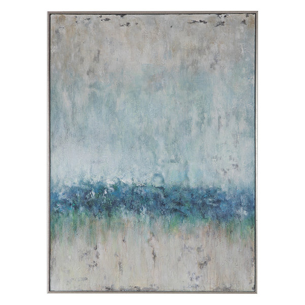 Oversize Modern Coastal Blue Green Cream Abstract Painting | Wall Art