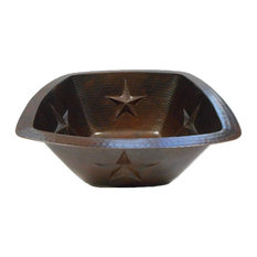 """15"""" Square Copper Kitchen Bar Prep Sink with Star Motif Drop In or Under Mount"""