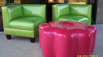 Pair of Retro Style Chairs and Large Ottoman