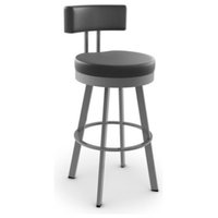 "Amisco Barry Swivel Stool, 26"", Black"