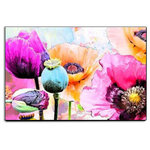 Hashtag Decor - Flower Riot, Michael Tarin, Vivid Modern Floral Art, Poppy, Print on Wood - The vivid colors in this modern floral art are sure to make a bold impression in any room. The soft contrasting pastels used in the background, add depth to this incredibly colorful decor. The three-dimensional wall art design brings this piece to life as a flowerpops off your wall.