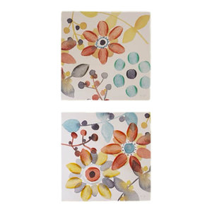 2-Piece Sweet Florals Canvas With Hand Embellishment Set