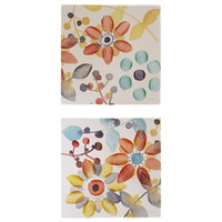 Sweet Florals Canvas With Hand Embellishment 2-Piece Set Multi
