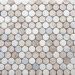 districtII - Marble Penny Round Mosaic Tile, Light Beige - Price is per sheet