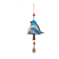 Studio M Bluebird Beautiful Unique and Vibrant Ceramic Bell Wind Chime