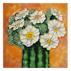 Cactus With White Flowers Tile