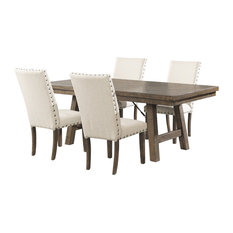 Dex 5-Piece Dining Set-Table, 4 Upholstered Side Chairs