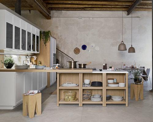 Cucina Moderna Bianca E Legno - Cucina Bianca E Rovere - Smepool.com