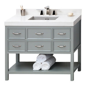 "Ronbow Newcastle Solid Wood 42"" Vanity Cabinet Base, Ocean Gray"