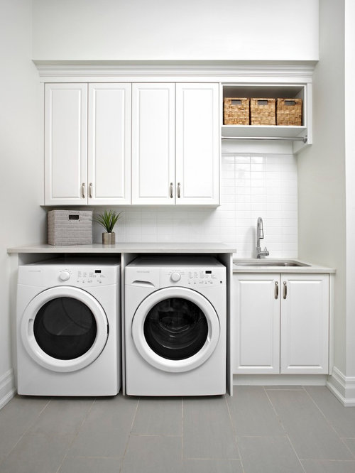Traditional single-wall laundry room idea in Toronto with an undermount  sink, raised-