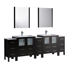"96"" Espresso Double Sink Bathroom Vanity, 3 Side Cabinets and Integrated Sinks"