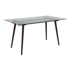 """Meriden 31.5""""x55"""" Solid Espresso Wood Table With Clear Glass Top"""