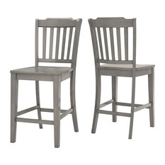 Arbor Hill Slat Back Counter Chair, Set of 2, Antique Grey