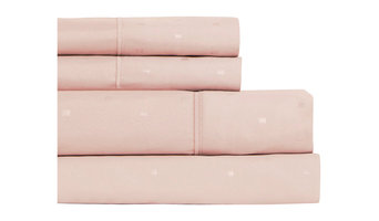 Snuggle Square Texture Microfiber Sheet Set With Deep Pockets, Soft Pink, Twin