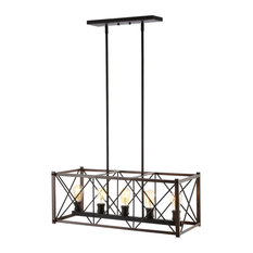 """Galax 30"""" 5-Light Adjustable Iron LED Dimmable Pendant, Oil Rubbed Bronze"""